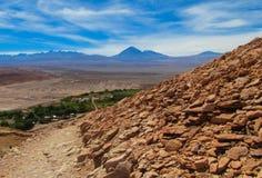 阿塔卡马沙漠干旱的风景 免版税图库摄影