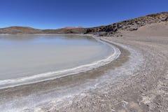阿塔卡马沙漠的盐盐水湖 免版税库存图片