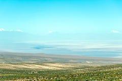 阿塔卡马沙漠风景被弄脏的背景与积雪覆盖的安地斯山的火山、盐舱内甲板和一些植被的在天际,智利 库存图片