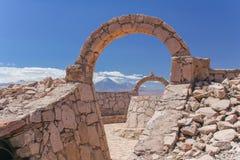 阿塔卡马沙漠/废墟的一个风景看法 免版税库存图片