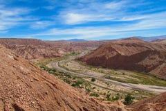 阿塔卡马沙漠绿洲风景 图库摄影