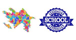 阿塞拜疆和难看的东西学校封印拼贴画军用镶嵌地图  皇族释放例证