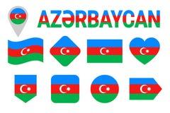 阿塞拜疆旗子象集合 舱内甲板被隔绝的标志 传染媒介阿塞拜疆旗子设置了与在国家语言的状态名字 传统co 向量例证
