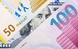 阿塞拜疆本国货币贬值 库存照片