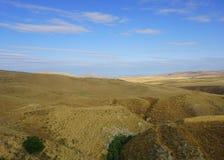 阿塞拜疆草土地沙漠风景 免版税库存照片