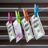 阿塞拜疆马纳特和美元 免版税库存照片