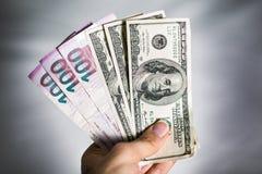 阿塞拜疆马纳特和美元 免版税图库摄影