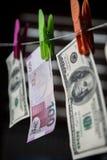 阿塞拜疆马纳特和美元 免版税库存图片