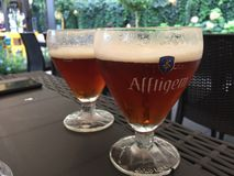 阿夫利赫姆修道院比利时红色啤酒 库存照片