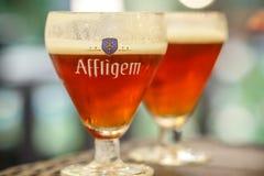 阿夫利赫姆修道院比利时红色啤酒 免版税库存照片