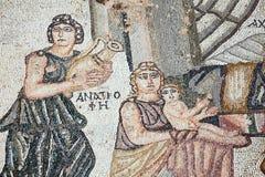 阿奇里斯作为儿童罗马马赛克 免版税库存照片