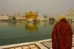 阿姆利则,旁遮普邦,印度金黄寺庙的献身者  免版税库存照片