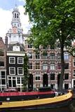 阿姆斯特丹、镇香奈儿和居住船 库存图片