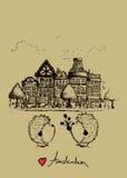 阿姆斯特丹与两只逗人喜爱的猬的明信片设计 图库摄影