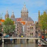 阿姆斯特丹中心教会城市 库存图片