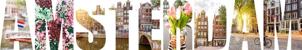 阿姆斯特丹信件用图片填装了从阿姆斯特丹市 库存图片