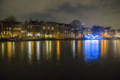 阿姆斯特丹光节日的夜场面 库存图片