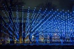 阿姆斯特丹光节日的夜场面 免版税库存照片