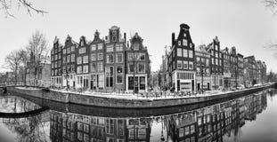 阿姆斯特丹全景运河BW 免版税库存图片