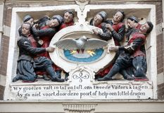 阿姆斯特丹博物馆,是关于阿姆斯特丹的历史的一个博物馆,位于在Kalverstraat之间的老城市孤儿院和 免版税库存图片