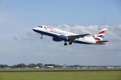 阿姆斯特丹史基浦机场-巴西航空工业公司英国航空公司ERJ-170离开 图库摄影