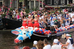 阿姆斯特丹同性恋自豪日运河游行 库存照片