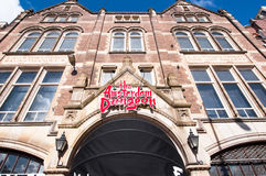 阿姆斯特丹土牢吸引力,恐怖剧院展示的门面 免版税库存照片