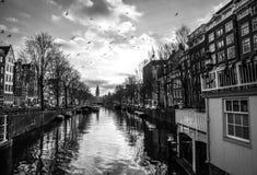 阿姆斯特丹在太阳集合时间的市中心著名大厦和地方  一般风景视图 免版税图库摄影