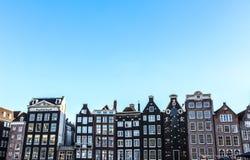 阿姆斯特丹在太阳集合时间的市中心著名大厦和地方  一般风景视图 库存图片