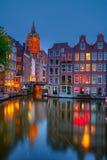 阿姆斯特丹在晚上 库存图片