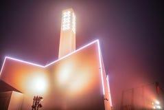 阿姆斯特丹在楼房建筑的市旗子反对美好的夜有雾的天空 库存照片