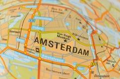 阿姆斯特丹地图 免版税图库摄影