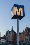 阿姆斯特丹地铁路标 图库摄影