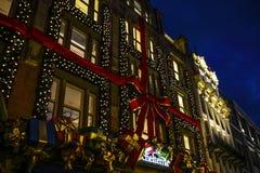 阿姆斯特丹城市视域在晚上 城市风景全视图  库存照片
