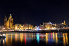 阿姆斯特丹夜光  荷兰 图库摄影