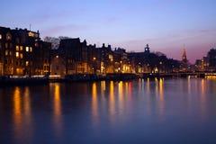 阿姆斯特丹夜间 免版税库存图片