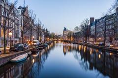 阿姆斯特丹夜间 免版税库存照片