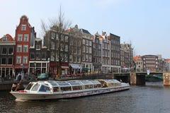 阿姆斯特丹小船浏览 免版税库存图片