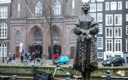 阿姆斯特丹市中心特写镜头著名雕塑  城市纪念碑&艺术一般风景视图反对 库存图片