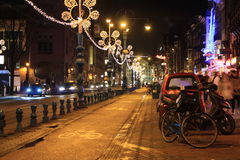 阿姆斯特丹市晚上 库存图片