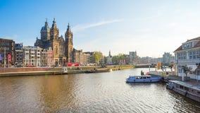阿姆斯特丹市看法在荷兰 免版税库存图片