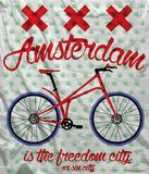 阿姆斯特丹市自行车T恤杉图形设计 免版税图库摄影