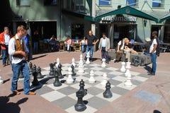 阿姆斯特丹市街道下棋比赛,荷兰 免版税库存照片