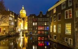 阿姆斯特丹晚上 图库摄影