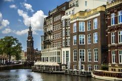 阿姆斯特丹概要和Munttoren 免版税图库摄影
