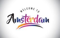 阿姆斯特丹欢迎到在紫色充满活力的现代颜色的消息 向量例证