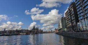 阿姆斯特丹江边  免版税库存图片
