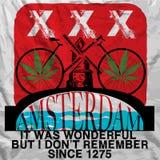 阿姆斯特丹海报人T恤杉图形设计 免版税库存照片