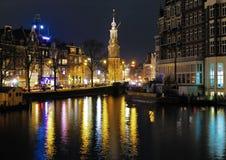 阿姆斯特丹硬币夜间塔视图 库存照片