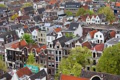 阿姆斯特丹老区从上面 免版税库存图片
